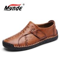 MYNDE 2018 New Handmade Comfortable Casual Shoes Loafers Men Shoes Quality Split Leather Men Flats Shoes Moccasins Shoes