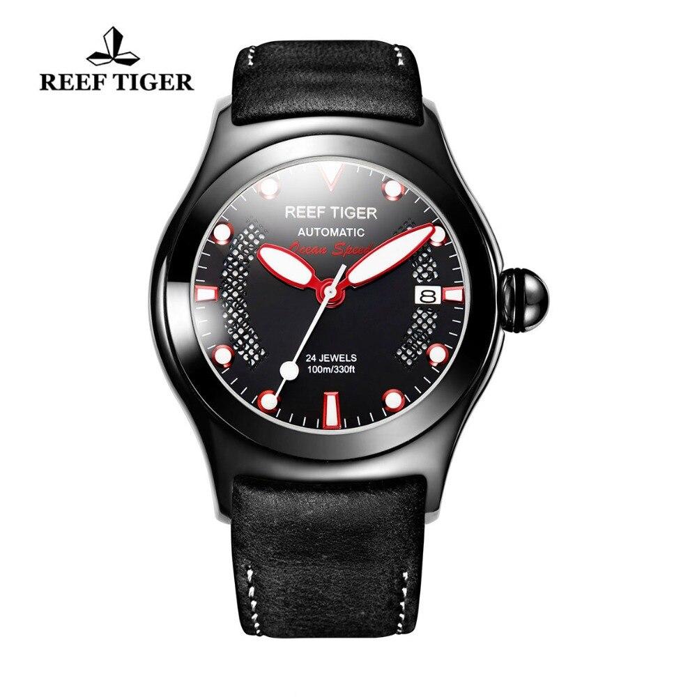 Риф Тигр/RT мужские спортивные часы световой скелет автоматические часы пояса из натуральной кожи группа RGA704