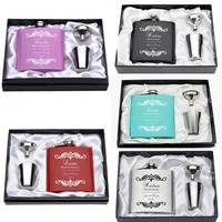 Set Of Engraved Stainless Steel 6oz Flask Set Funnel Candy Box Surname Surname Date Groom S
