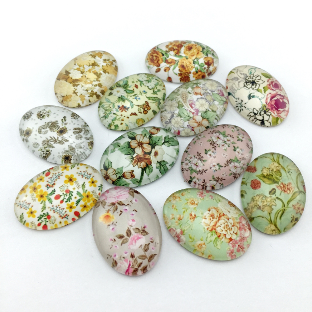 ZEROUP Glass <font><b>Cabochon</b></font> <font><b>18x25mm</b></font> 30x40mmm Mixed Flower Pattern Cameo <font><b>Oval</b></font> <font><b>Cabochon</b></font> Base Supplies for Jewelry Finding DIY Picture image
