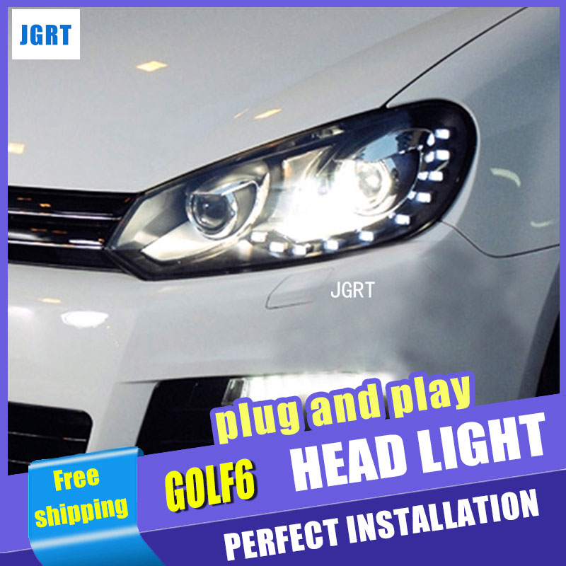 Car Styling for VW Golf6 LED Headlight assembly for Golf 6 Headlights 12-LED DRL Lens Double Beam H7 with hid kit 2 pcs. hireno headlamp for 2014 17 volkswagen golf 7 golf7 headlight headlight assembly led drl angel lens double beam hid xenon 2pcs