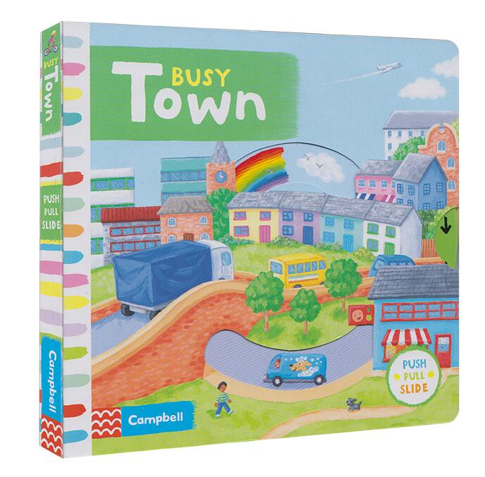 Campbell Busy Town Push Pull Slide Movable Mechanical Book English Picture Flap Board Book Baby Infant Kids Early Education Toy