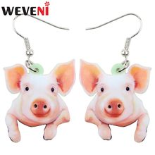 WEVENI Acrylic Dangle Cartoon Funny Pig Piggy Drop Earrings Big Long Fashion Animal Jewelry For Girls Women Wholesale 2018 News(China)