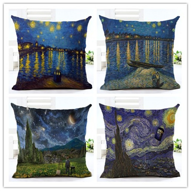 Van Gogh Style Oil Painting Printed Houseware Decor Cojines Printed Sofa Pillow Throw Linen Cotton Pillow Cushion Cover