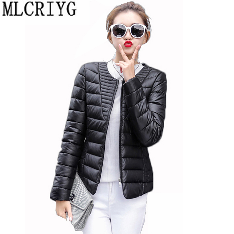 Plus Size 3XL Spring Autumn Wadded Jacket Women   Parkas   2019 New Light Short O-Neck Cotton Padded Coats Female Outwear LX02