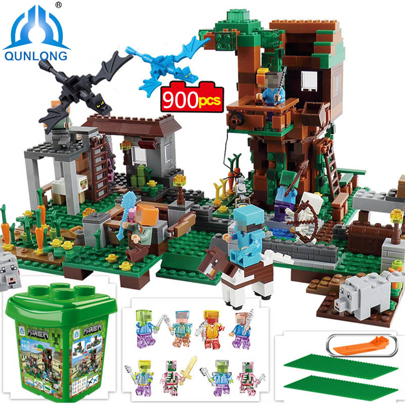 qunlong My World Village Building Blocks Castle Kids Toys Gift Compatible Legoe Minecraft City Building Blocks For Boy Girl Gift qunlong 0521 my world volcano mine building blocks toy compatible legoe minecraft building block city educational boys toy gift