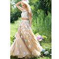 Abendkleider 2017 nuevo estilo magnífico multicolor de dos piezas vestidos de fiesta cuenta con apliques florales de encaje de baile vestido