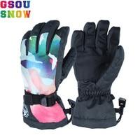 Gsou Snow Ski Gloves Women Female Ladies Windproof Waterproof Thermal Warm Thick