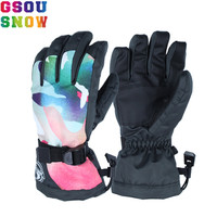 Gsou Snow Ski Gloves Women Female Ladies Windproof Waterproof Thermal Warm Thick