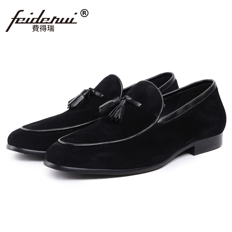 New Fashion Man Handmade Moccasin Shoes Cow Suede Leather Round Toe Slip on Loafers Comfortable Men's Casual Footwear JS11 new vintage handmade round toe man comfortable casual shoes genuin leather slip on formal designer men s moccasin loafers js49