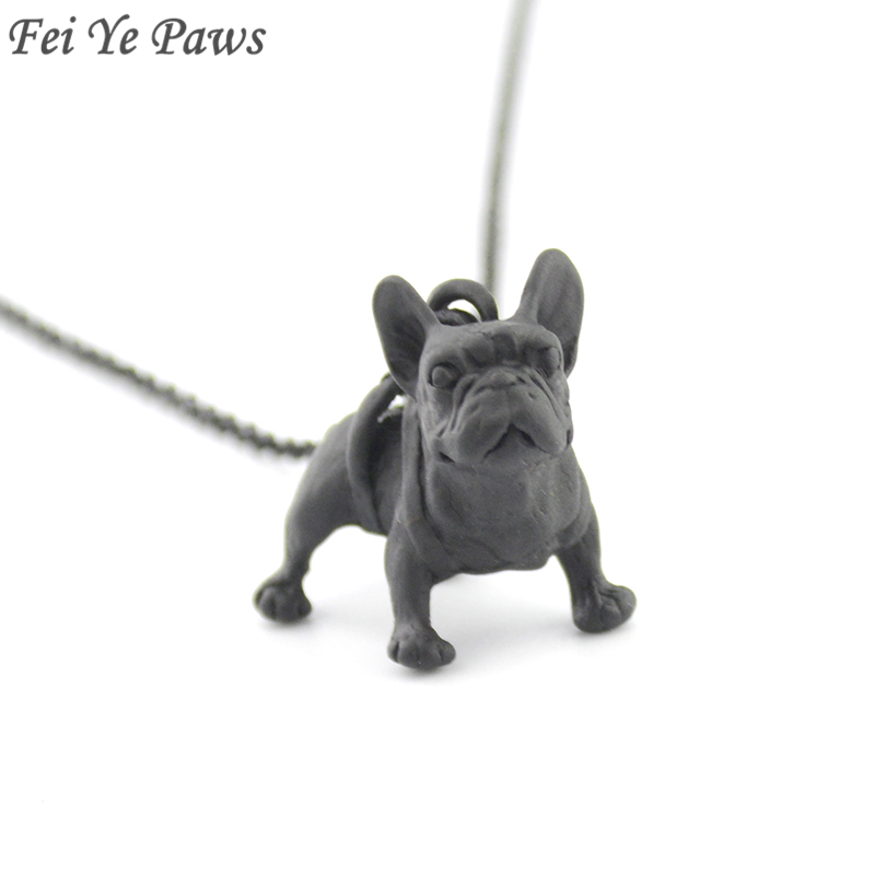Metal Black  French Bulldog Dog Pendant Necklace Accessories Long Maxi Chain Male Necklaces For Women Men Best Friend Jewellry