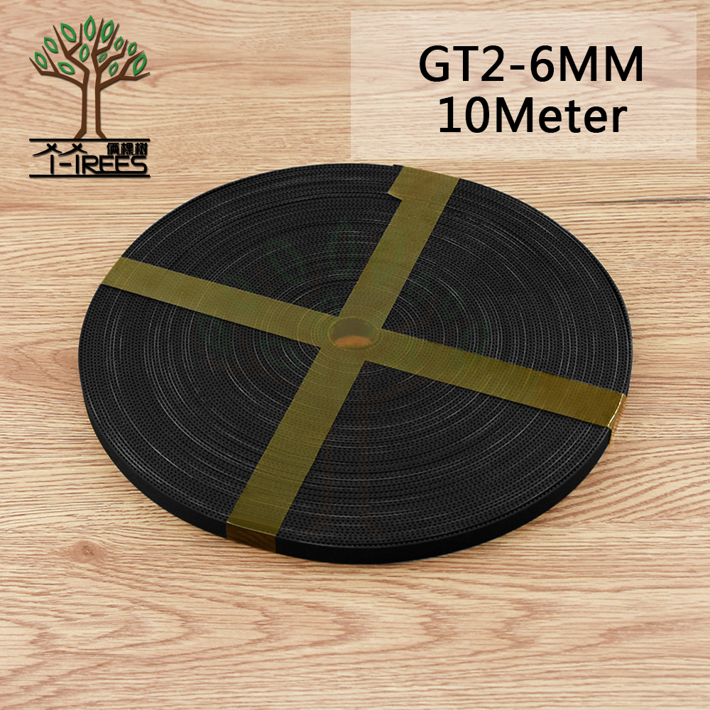 цены 3D Printer accessories 10meter 10M GT2 6mm open timing belt width 6mm GT2 2GT-6MM For reprap i3 Kossel Mendel Rostock