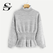 Sheinside Grey Drop Shoulder Marled Peplum Sweater Women Knit Jumper Long Sleeve Pullover Clothes 2018 Autumn Casual Sweaters(China)