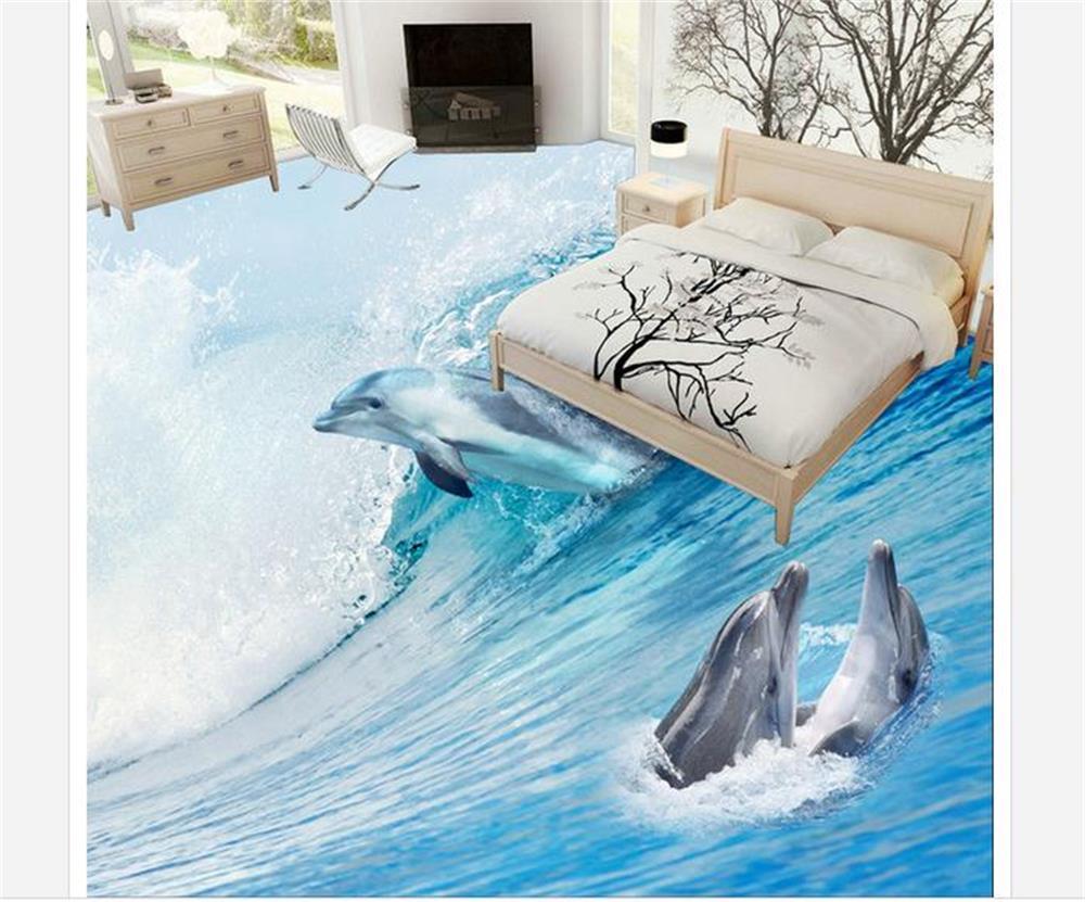 PVC Floor Wallpaper Room Muarl Custom waves sea dolphins HD 3D Photo Wallpaper Floor Bathroom Self-adhesive Waterproof Wallpaper the very best of sandra cd