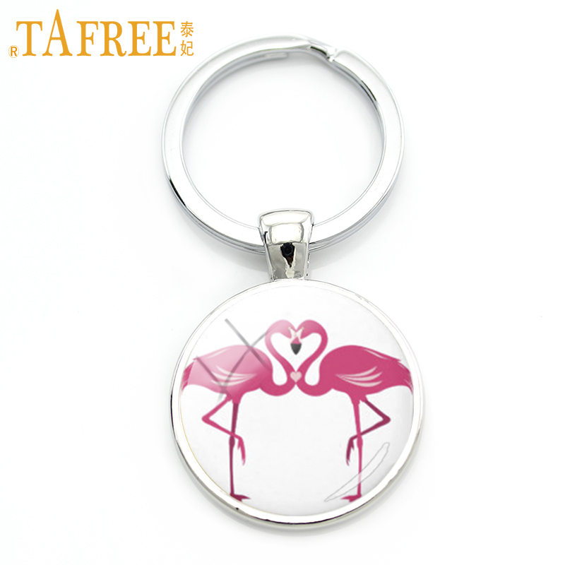 TAFREE Loving Flamingo Keychain two birds facing each other on a white background key ch ...