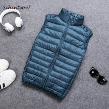 Schinteon 90 White Duck Down Men Vest Gielt Casual Waistcoat Spring Autumn Light Down Jacket Male cheap STANDARD 228MDV144 REGULAR zipper Sleeveless Solid Broadcloth NONE Zippers Pockets Polyester 100g-150g 280g