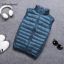 Schinteon Chaleco informal Gielt para hombre, chaqueta ligera, color blanco, para primavera y otoño, 90%