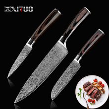 XITUO best 3 pcs kitchen knives sets Japanese Damascus steel Pattern chef knife Cleaver Paring Santoku Slicing utility tool