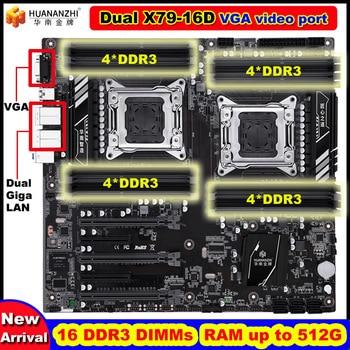 Новое прибытие Скидка HUANANZHI двойной X79 плата с VGA видео порт 16 DDR3 оперативная Память DIMM макс до 16*32G двойной Giga LAN портов