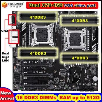 새로운 도착 할인 huananzhi 듀얼 x79 마더 보드 vga 비디오 포트 16 ddr3 dimm ram 최대 16*32g 듀얼 giga lan 포트