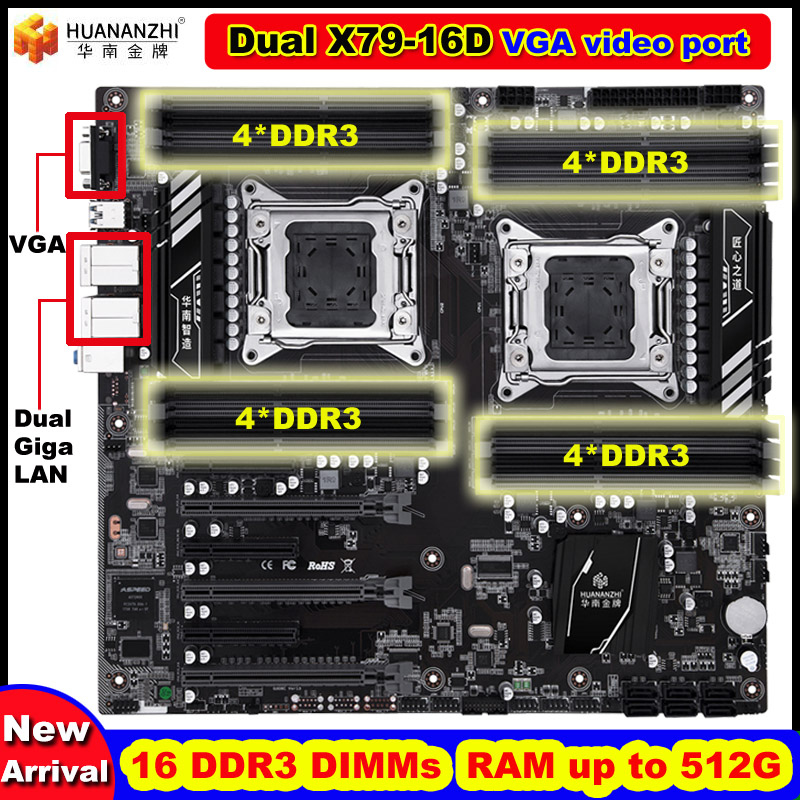 Nieuwe collectie HUANANZHI dual X79-16D moederbord op koop ingebouwde VGA video poort 16 Dimm RAM max tot 16 * 32G dual Giga LAN poorten
