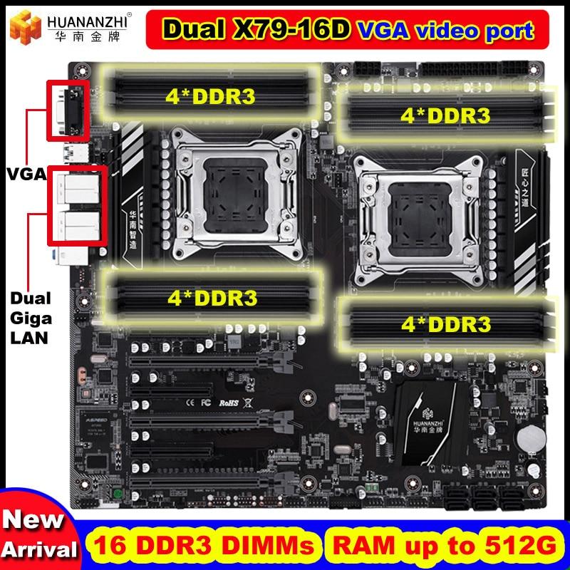 Nova chegada desconto huananzhi dupla x79 placa-mãe com porta de vídeo vga 16 ddr3 dimm ram max até 16*32g dupla giga lan portas