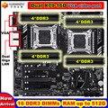 Nueva llegada de descuento HUANANZHI dual X79 placa base con VGA puerto de video 16 DDR3 RAM DIMM max 16 * 32G dual Giga puertos LAN
