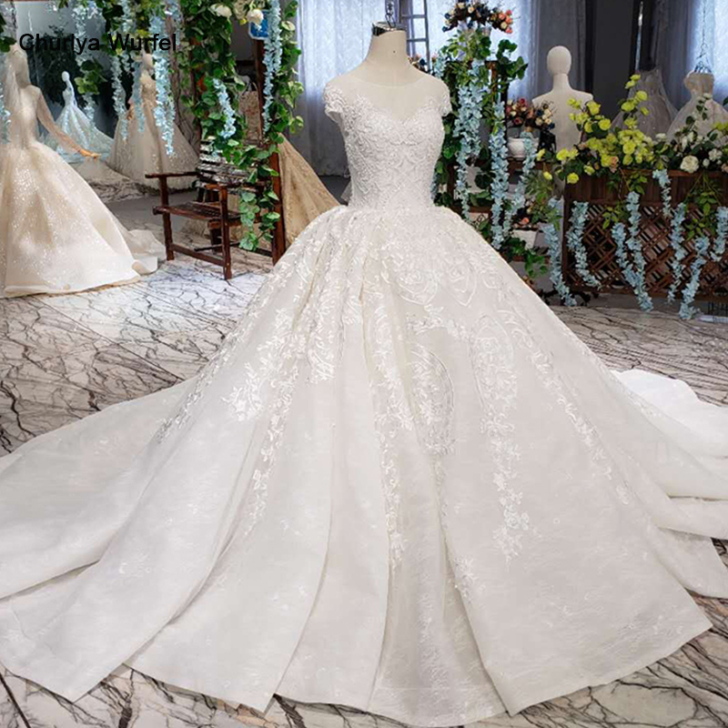 LSS513 Vintage Wedding Dress With Wedding Veil O Neck Lace