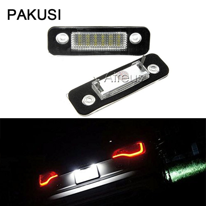 PAKUSI 1Pair Car LED License Plate Lights 12V For <font><b>Ford</b></font> Mondeo MK2 <font><b>Fiesta</b></font> Fusion <font><b>accessories</b></font> White SMD3528 Lamp Bulb Kit No error image