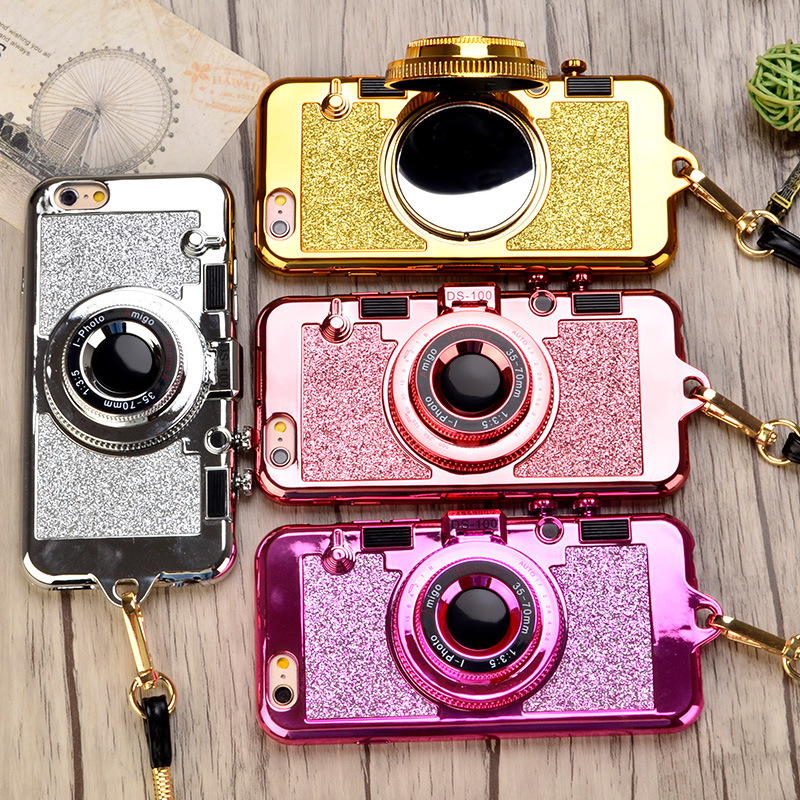 3D Camera Iphone X 10 7 8 Plus Luxury Plating TPU+PC Kickstand Phone Cover With Lanyard For Iphone 6 6Splus Mirror Capa