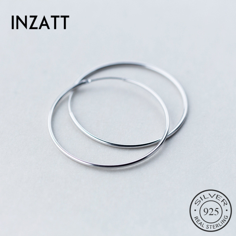 INZATT Minimalist Geometric 1cm-6cm Round Hoop Earrings For Unisex Accessories Party Smooth Surface Real 925 Silver Jewelry Gift
