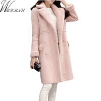 Wmwmnu new fashion women jackets casual loose suede lether Thicken high thermal women long coat plus size winter pink coats 349a