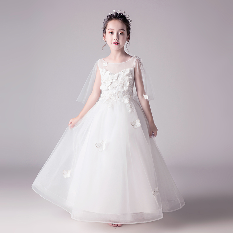 2018 winter kids girls embroidered flower formal party ball gown prom princess bridesmaid wedding children first tutu dress цены онлайн