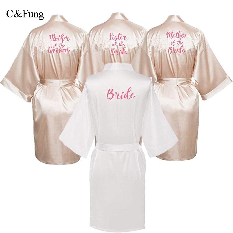 Wedding Day Rhinestone Satin Brides Sister Bridal Bathrobe Kimono dressing gown
