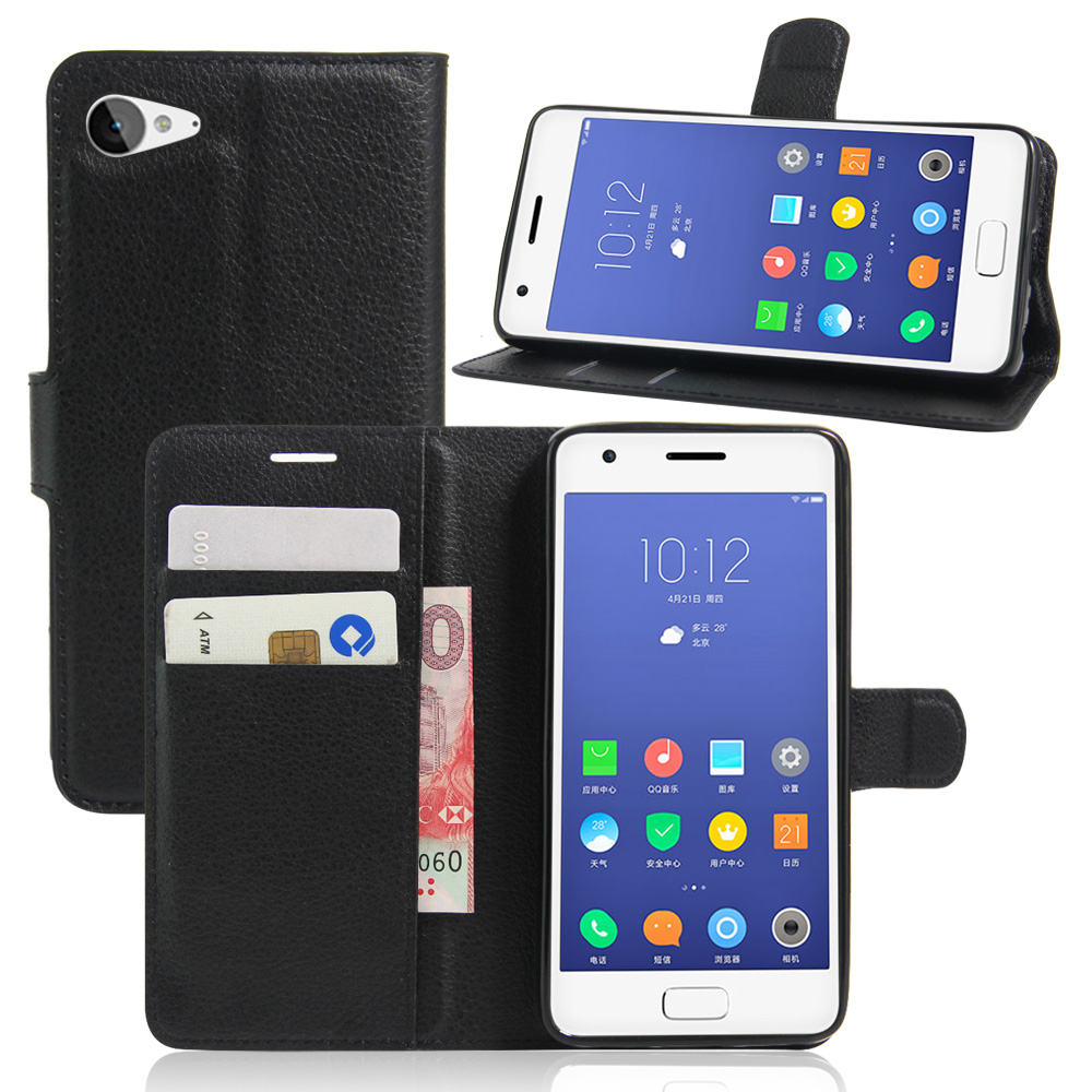 Luxury Genuine PU Leather Flip Case Cover for Lenovo ZUK Z2 Case Cell Phone Shell Back Cover Card Holder Purple visa