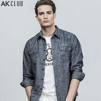 AK CLUB Casual Men Shirt Denim Blue Flying Tiger Pattern Printing Shirt Long Sleeve Chambray Cotton Fabric Brand Shirt 1802203