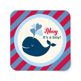 38cm Baby Shower Favor Sticker Whale Ahoy Boyin Stickers from