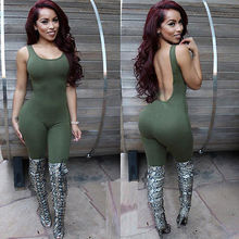 New Sexy Women Sliod Backless Jumpsuit Slim Sleeveless Bodycon Bandage Party Playsuit Rompers Clubwear