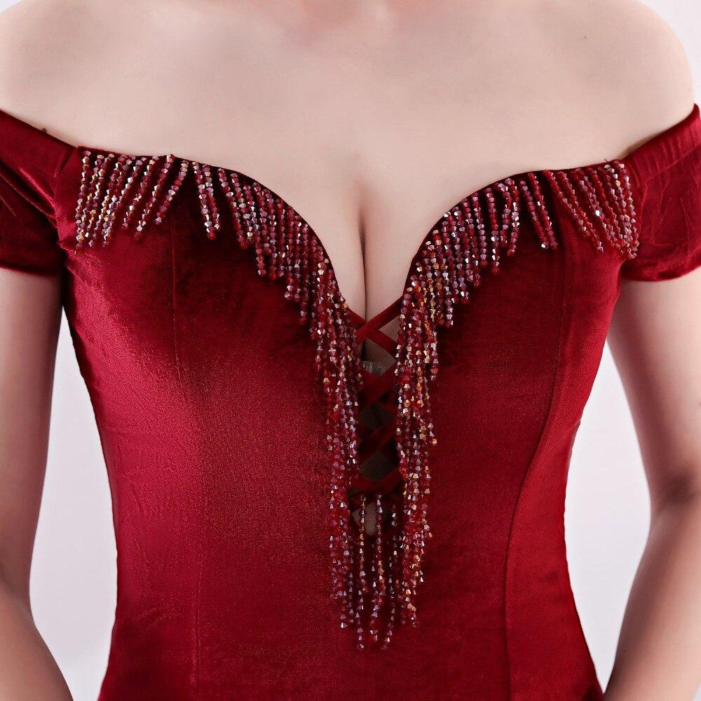 Women Elegant Sexy Appliques Velvet Wine Red Off Shoulder V-Neck Long Mermaid Slim Slit Club Party Dress Vestidos (25)