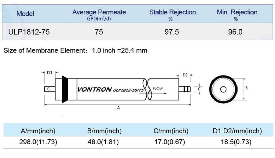 Vontron 75 осмотическая мембрана gpd ULP1812-75 обратного осмоса Мембрана для фильтр воды