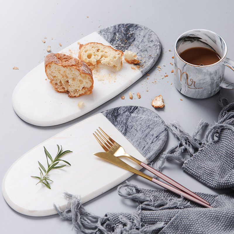 Natural Marble Plate Combination Grey White Mixed Plates Kitchen Steak Plate Bread Tray North European Style Tray
