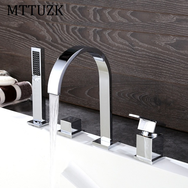 MTTUZK Solid Brass 4 Hole Dual Handle Cold and Hot Bathroom Basin ...