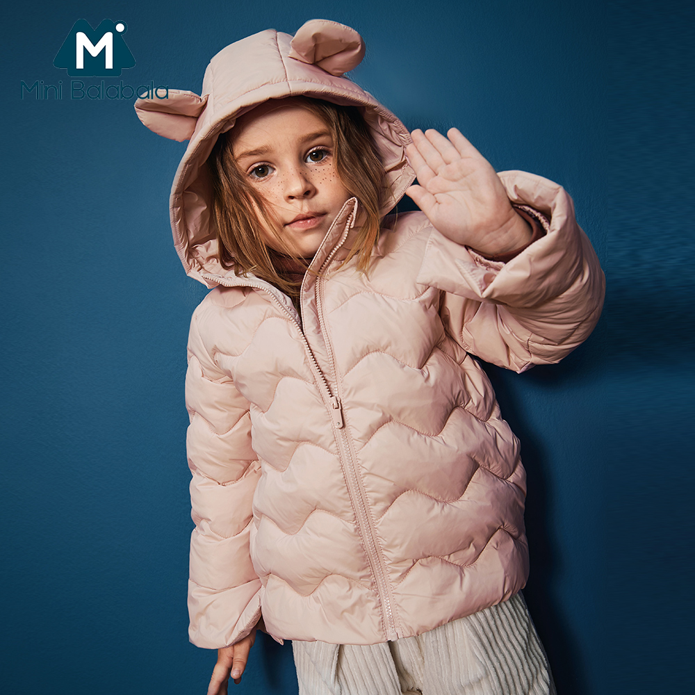 Mini Balabala Kids Lightweight Critter Puffer Jacket For Girls Children Winter Coat Hooded Jacket Outwear Size 6 8 9 10 Year