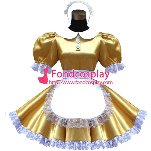 Lockable Satin Sissy Maid Dress Peter-pan Collar Uniform Tailor-made [G1610]