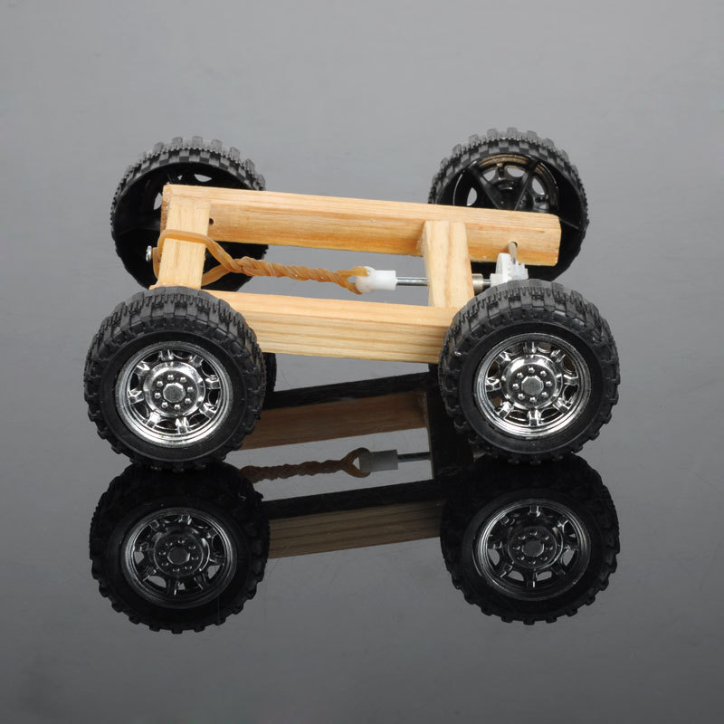 educational equipment manual version rubber band car model toy diy kids creative technology division produced physical