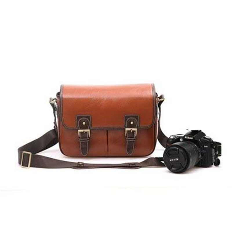 ФОТО Fosoto Waterproof Vintage PU Leather DSLR Camera Bag Cross Body Portable Case Fit DSLR with 2 lenses For Canon DSLR Camera