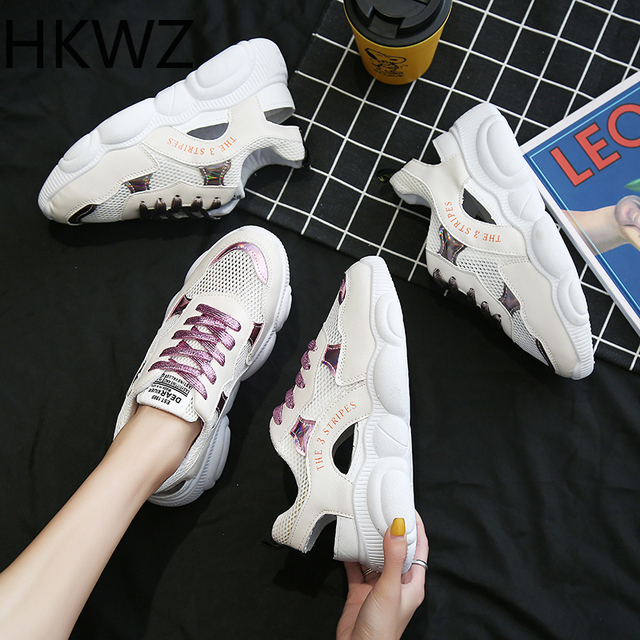 2019 spring flat women's shoes wild mesh breathable muffin platform sports shoes increased with non-slip comfortable sandals