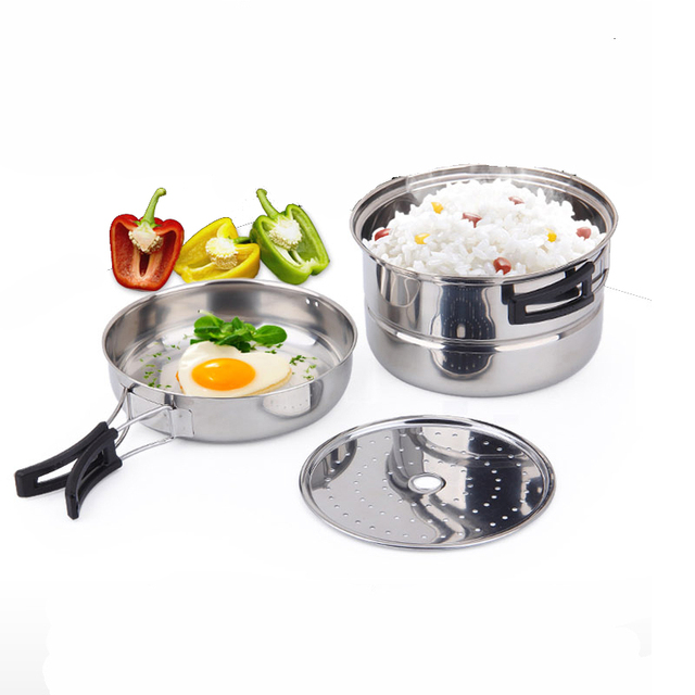 Stainless steel outdoor camping cooker outdoor 1.6L camping pot stainless steel frying pan 2-3 people camping cooker 3 sets
