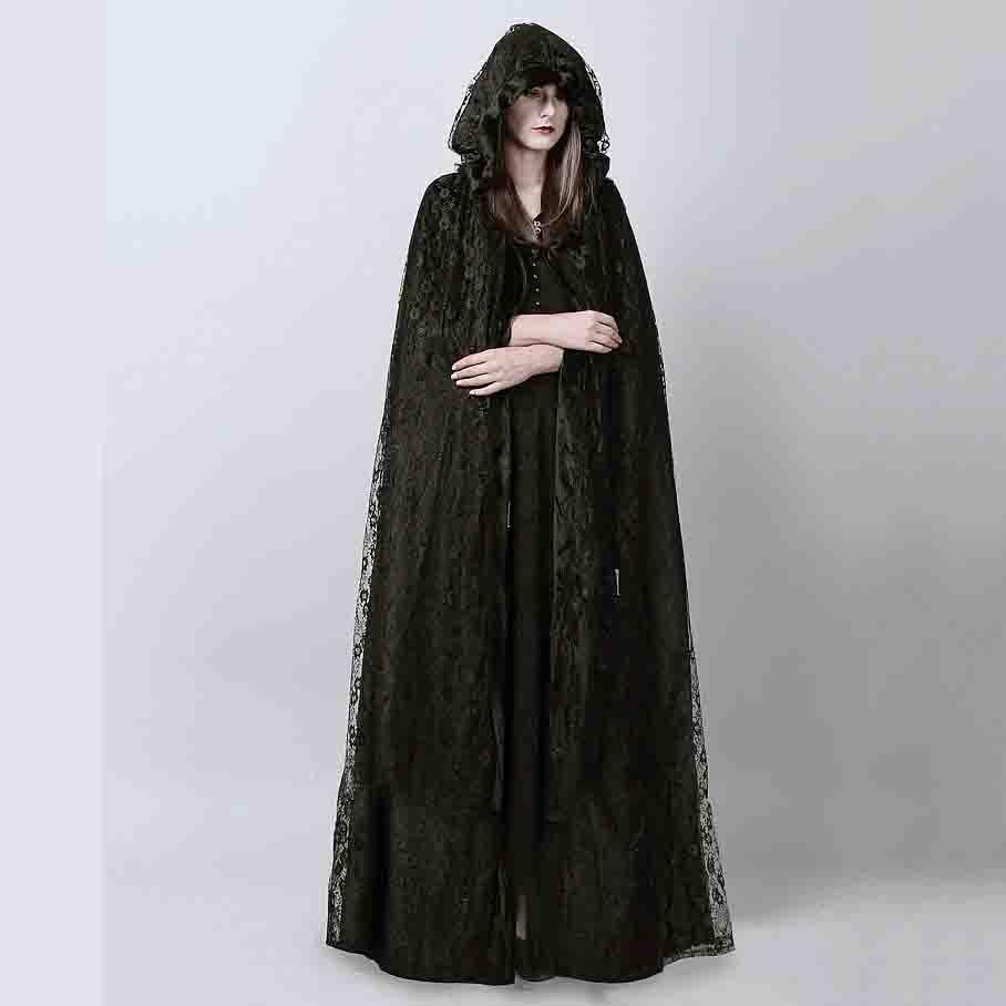 2pcs Gothic Unisex Velvet Hooded Cape Elf Cloak Costume Halloween Witchcraft