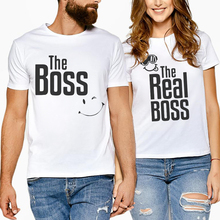 Summer Cotton Hipster T-Shirts White Half Sleeve Letter Printing The Boss Tees Tops Women And Men Lovers Family Clothes Tshirt